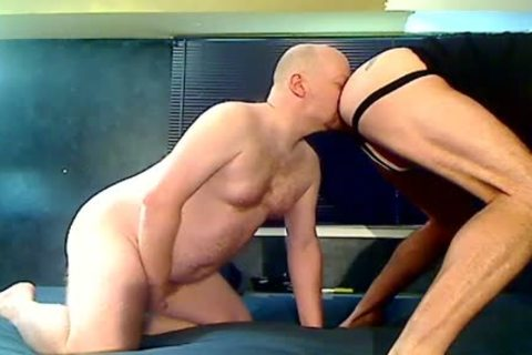 Two Stocky Bald Bears Eat a-hole and Breed